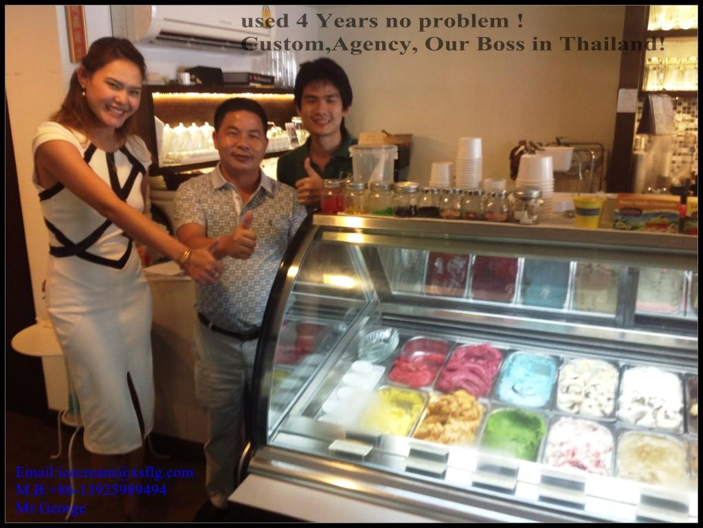 Gelato cart and ice cream freezer in Thailand
